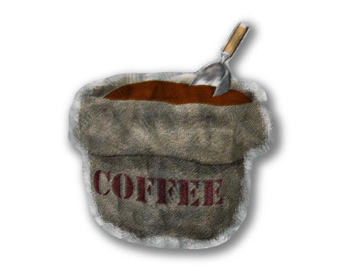 Burlap Coffee Bag Metal Wall Sculpture