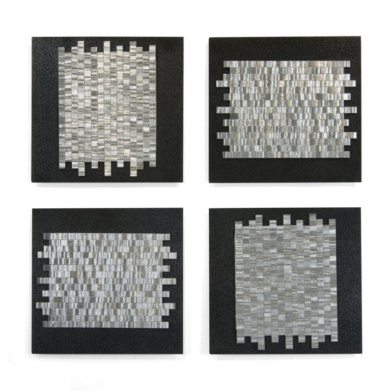 Interlocking Grids Contemporary Metal Wall Hanging Set of 4