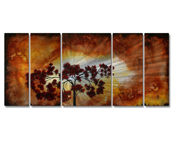 Tree of Vitality Five-Panel Handmade Metal Wall Art