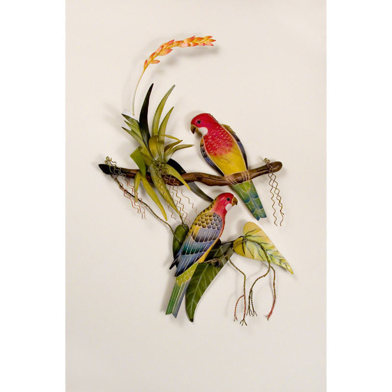 Multicolored Macaws in Paradise Metal Wall Art Decor