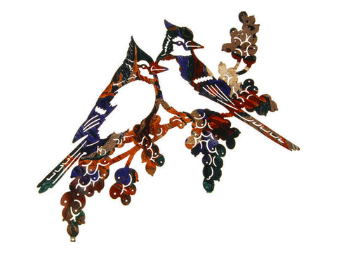 Blue Jays & Grapevine Metal Wall Sculpture