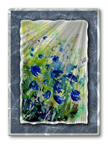 Abstract Bluebonnets Floral Metal Wall Art