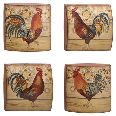 French Morning Rooster Metal Wall Decor Set of 4
