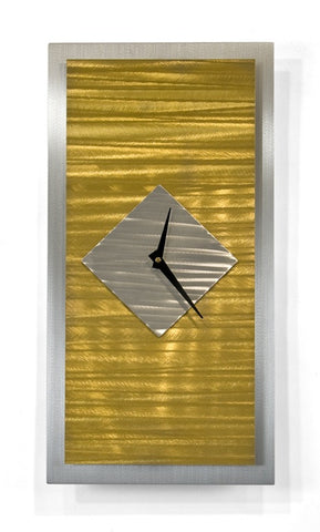 Golden Horizons Abstract Wall Clock