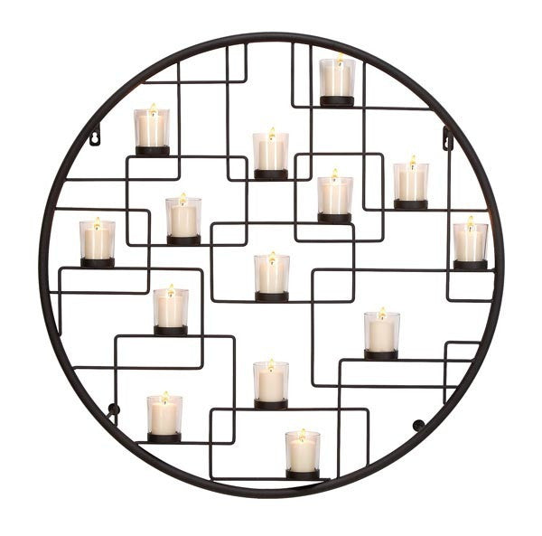 Circle of Fourteen-Light Metal Wall Candleholder