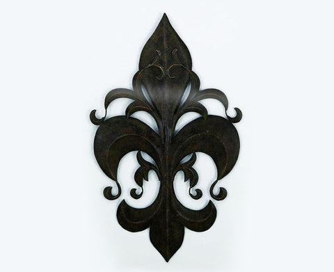 Fantastical Fleur-de-Lis Handmade Metal Wall Sculpture