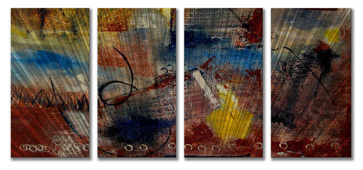 Divination of Drama Abstract Four-Panel Metal Wall Art