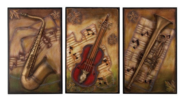 Classic Composition Musical Metal Wall Decor Set of 3