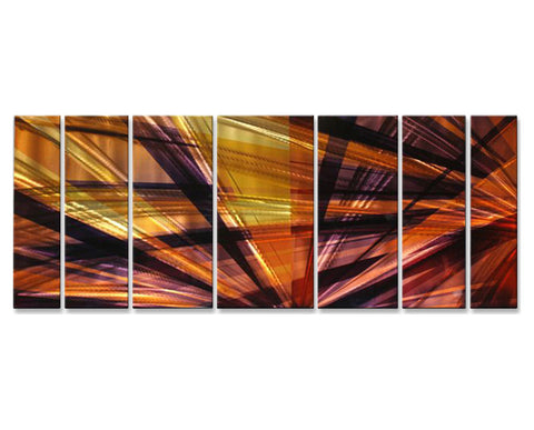 Electrifying Rays of Light Seven-Panel Metal Wall Art