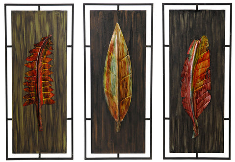 Luxurious Leaves Metal Wall Art Set of 3