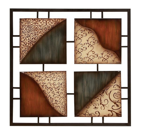 Artful Squares Handcrafted Metal Wall Hanging