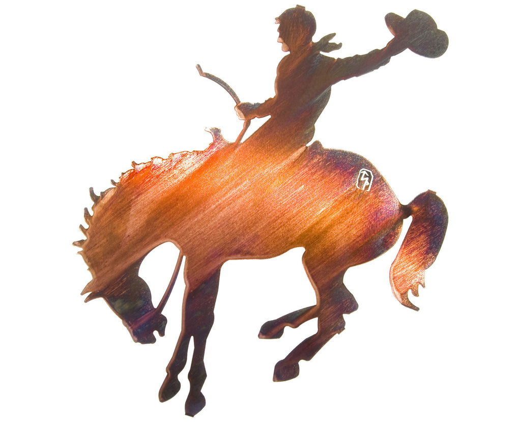 Bucking Horse and Cowboy Metal Wall Sculpture