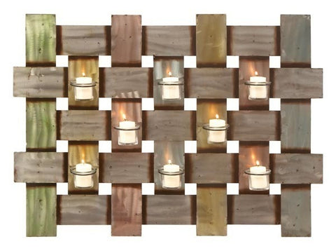 Braided Neutrals Eight-Light Metal Wall Candleholder