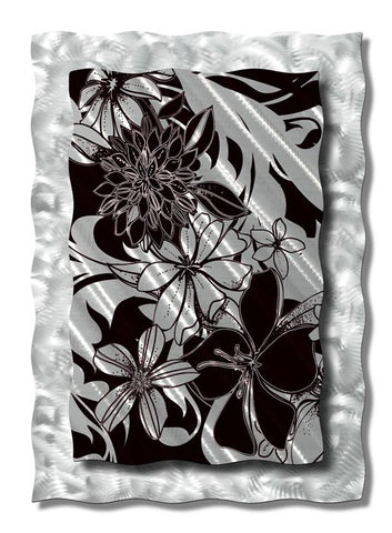 Modern Hibiscus Black and White Metal Wall Sculpture