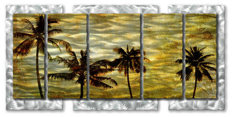 Five-Panel Palms in the Sand Metal Wall Art