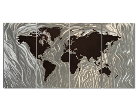 Ebony Earth Contemporary Wall Art Set of 4