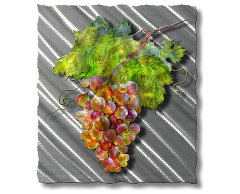 Bountiful Grape Branch Metal Wall Hanging