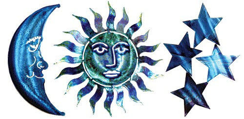 Sun Moon & Stars Metal Wall Art Decor