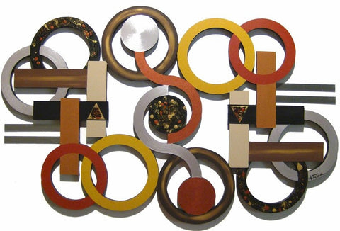 Ellipse of Circles Handcrafted Wood Wall Hanging