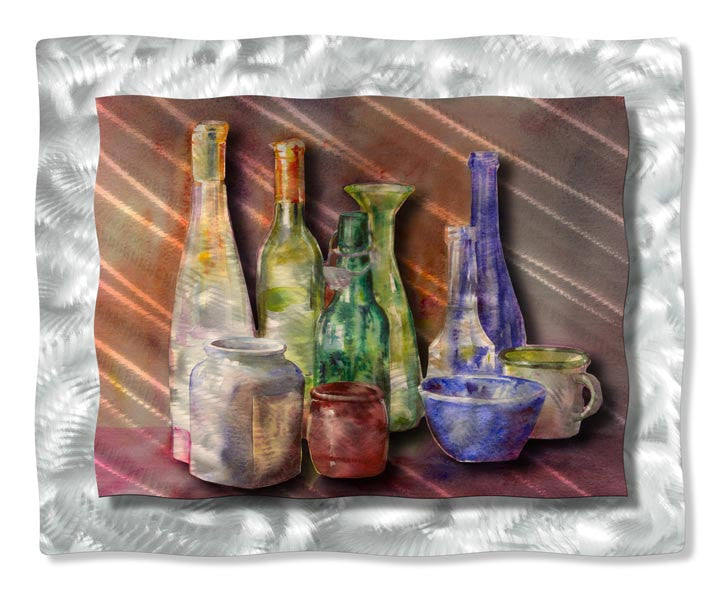 Bottles Still Life Metal Wall Hanging