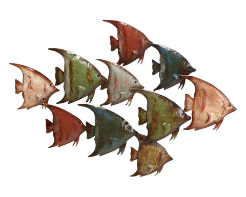 Swimmingly Happy School of Fish Metal Wall Sculpture