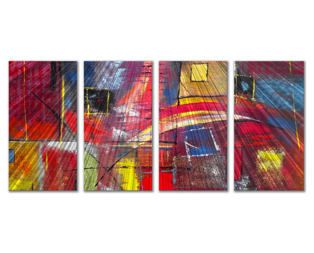 Illuminated Illusion Four-Panel Abstract Metal Wall Hanging