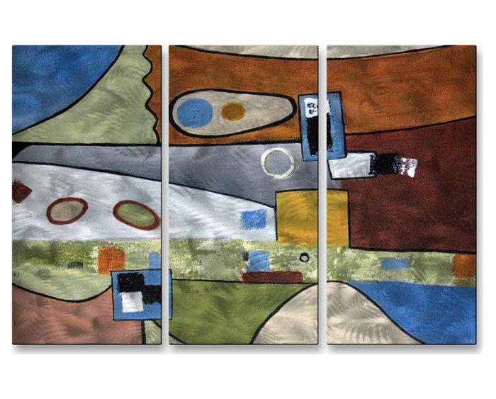 Picasso Reincarnate Abstract Handmade Metal Wall Art Trio