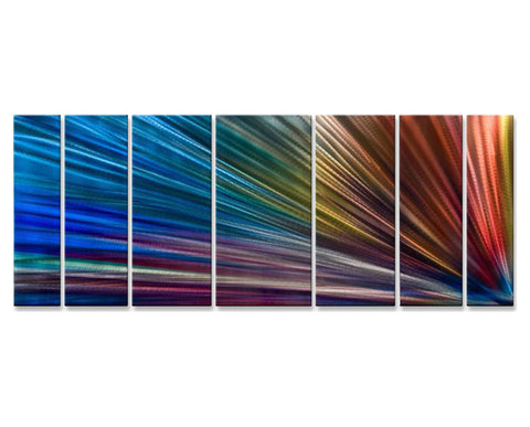 Bands of Light Seven-Panel Metal Wall Art
