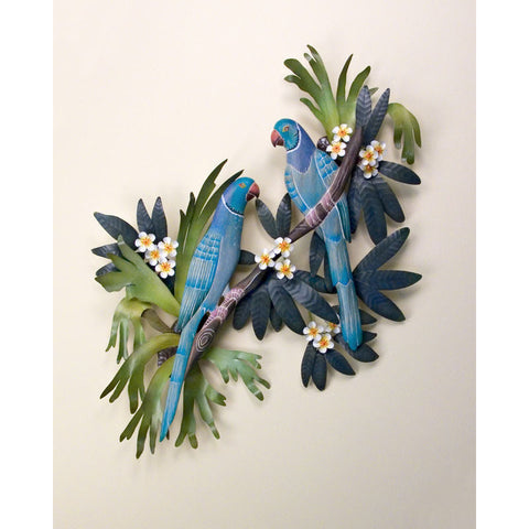 Blue Macaws in Paradise Metal Wall Hanging