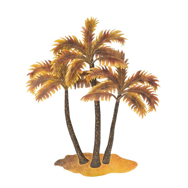 Golden Palm Trees Metal Wall Hanging