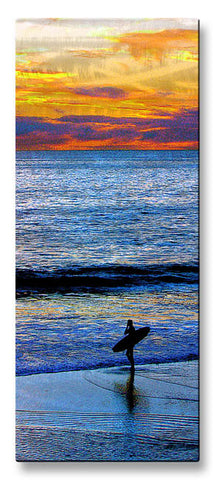 Lone Surfer at Sunrise Metal Art