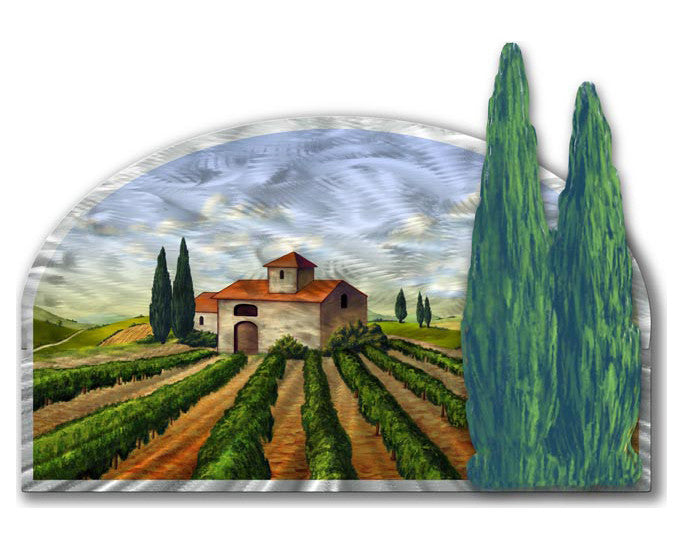 Farm in Tuscany Artisan Crafted Metal Wall Art