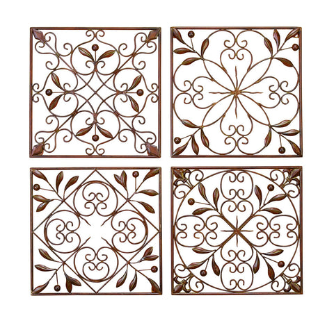 Artisan Scroll Wrought Iron Wall Grilles Set of 4