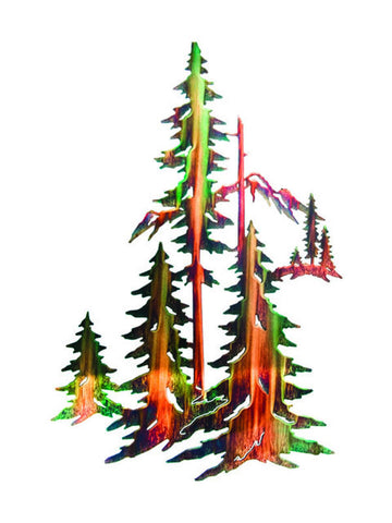 Stand of Pine Trees Metal Wall Sculpture