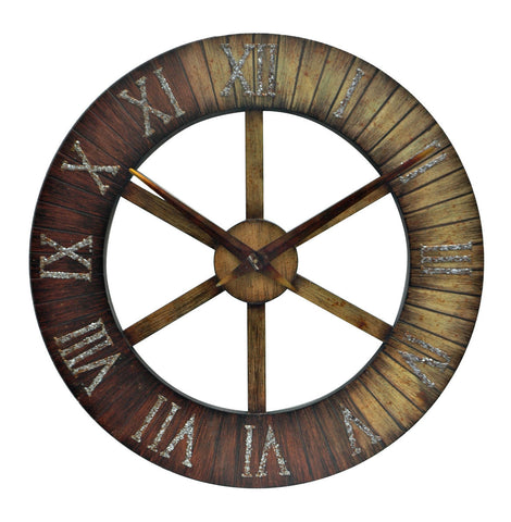 Faux Wood Metal Wall Clock