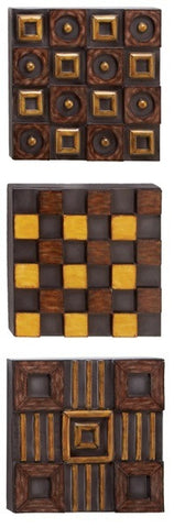 Checkered Art Metal Wall Panels Set of 3