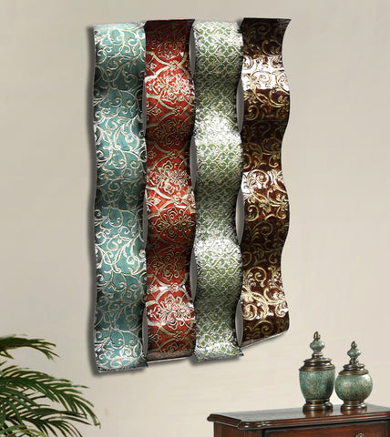 Embossed Metallic Ribbons Wall Sculpture