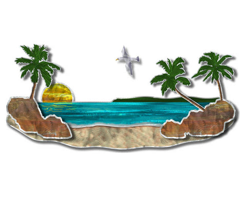 Tropical Beach Palms Cut-Out Metal Wall Sculpture