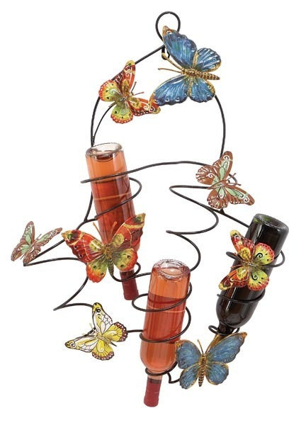 Busy Butterflies Metal Wall Wine Rack