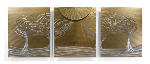 Bronzed Evening Forest Modern Wall Panels Set of 3