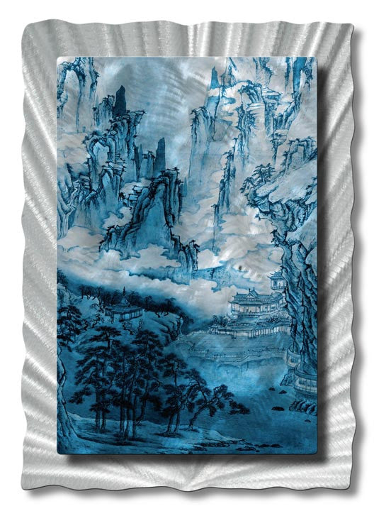 Fantastical China in Watercolor Metal Wall Hanging