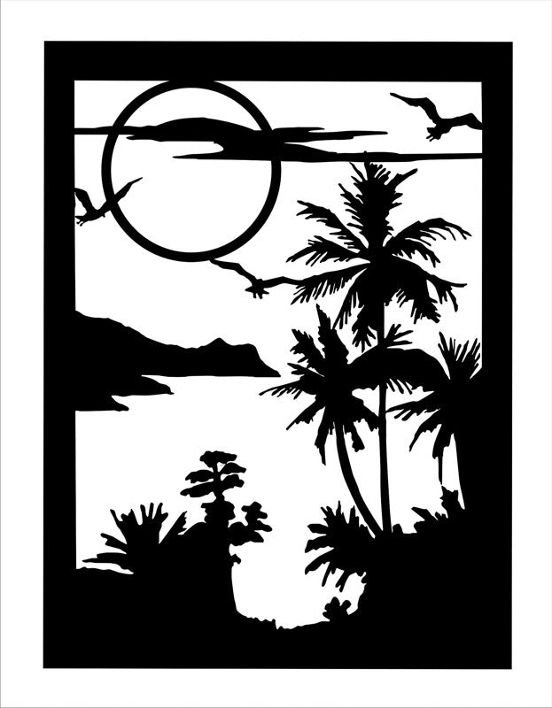 Palm Tree Alcove Silhouette Art