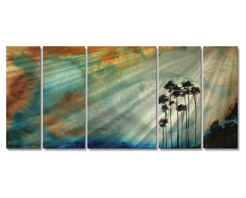 Awakening of the Palms Five-Panel Handmade Metal Wall Art