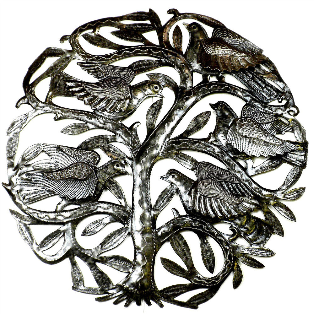Birds at the Tree of Life Metal Wall Hanging