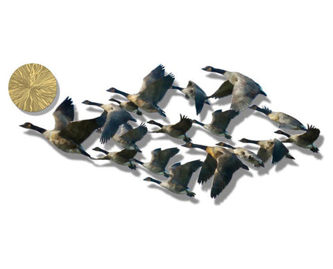 Winter Flight of Geese Metal Wall Sculpture