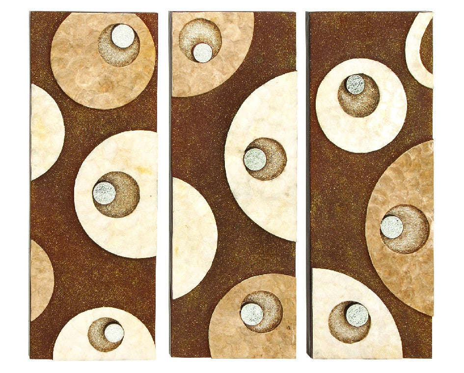 Abstract Geometrics Three-Panel Handcrafted Metal Wall Hanging