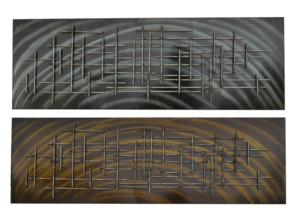 Barred Entry Abstract Metal Art Set of 2