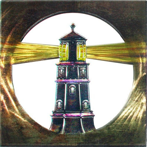 Old World Lighthouse Metal Wall Hanging