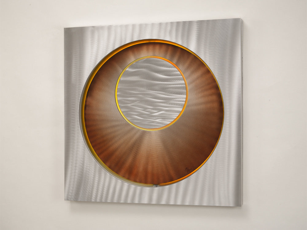 Silvery Orb Sunset Metal Art