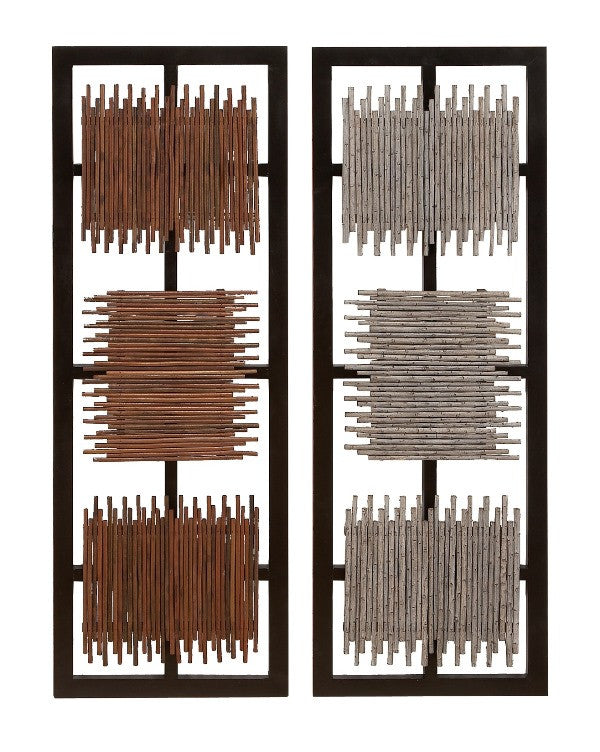 Energy Grids Wood Panels Set of 2